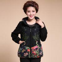 中老年女装秋装外套 新款中年大码妈妈装 韩版撞色花色外套批发