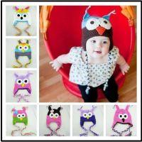 冬款新款纯手工编织宝宝毛线帽 猫头鹰造型儿童帽 婴儿拍照帽子