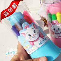 正版迪士尼12色喷喷笔套装 玛丽猫可洗水彩笔 儿童画画笔