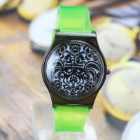 外贸新款 透明塑胶休闲男女表 个性剪纸图案手表