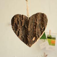 zakka 创意家居摆件 树皮工艺品 木制饰品 树皮爱心挂件 C1812