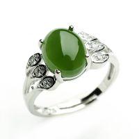 正品和田玉碧玉戒指 天然菠菜绿碧玉女士戒指镶嵌925银指环可伸缩