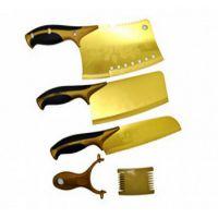 跑江湖必备黄金刀 钛金单刀前切后砍  钛金五件套 厂家直销