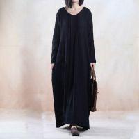 例外风格圆领褶皱原创设计女装 秋季文艺肌理亚麻连衣裙 长裙