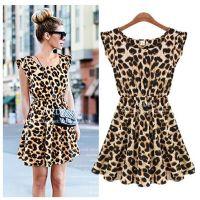 四季不断货 厂家直销 欧美时尚 豹纹连衣裙 速卖通 ebay爆款