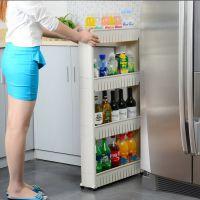 创意三层夹缝置物架收纳架厨房塑料带滑轮储物架浴室娄空整理箱