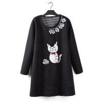 L16加大码女装胖MM秋冬款圆领长袖贴布小猫连衣裙打底裙 0.55kg