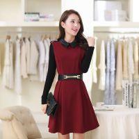 2014秋冬新款女装 韩版方领高腰修身中长款针织长袖连衣裙SNRQ801