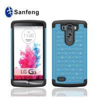 进口pc注塑厂 LG G3迷你钻石贴钻手机壳 g3mini撞色满天星保护套