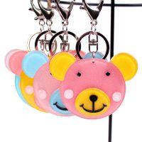 韩版炫亮创意微笑熊哥亚克力钥匙扣 卡通配件包包挂件钥匙圈定制