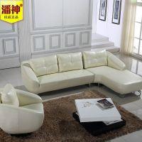 潘神品牌现代简约休闲客厅沙发转角 贵妃沙发小户型组合真皮 沙发
