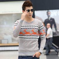 厂家直销秋冬新款男装 V领长袖针织衫男 毛衣外套打底衫ZX1162