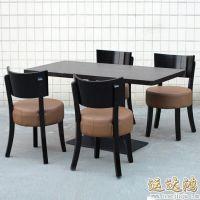 深圳龙华餐桌大理石 简约黑色实木餐桌椅组合 长方形