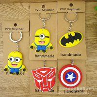 超可爱 小黄人 美国队长盾牌标志 单面PVC软胶钥匙扣 包包挂饰