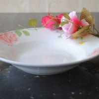 供应景德镇贝质瓷深盘子《朵朵红花》点心盘 中式菜盘 汤盘18045