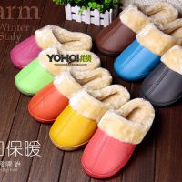 家乐拖糖果色PU皮冬季男女情侣居家拖鞋 半包跟保暖棉鞋 棉拖鞋