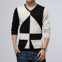 厂家直销 2014秋冬新款 男式打底衫 7字潮流针织男士休闲长袖t恤