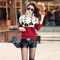 专柜正品秋冬女装套头毛衣堆堆领针织打底衫修身短款女长袖羊绒衫