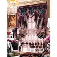 卧室窗帘全遮光隔音 高档欧式飘窗窗帘定做