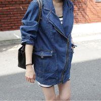 2013春秋装 新款女装韩版A4689休闲时尚个性中长款牛仔小西服外套