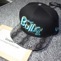 NBA棒球帽字母帽子平沿帽hiphop嘻哈潮人街舞帽公牛热火湖人黄蜂