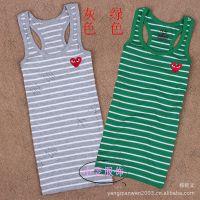 批发夏季新款女装小背心吊带衫PLAY条纹背心 纯棉工子背心打底衫