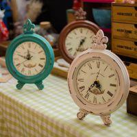 zakka杂货 木质工艺品 木质做旧复古座钟  礼品工艺品摆件C0211