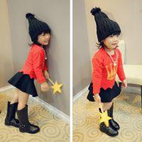 韩果儿童装批发B 秋装韩版女童卫衣套头衫 儿童不规则短款打底衫