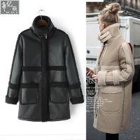 2014年新款 欧美风大牌麂皮绒羊羔毛中长加厚棉大衣 外套女6463