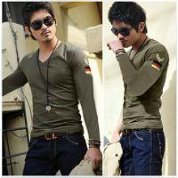 批发特价2013新款男士长袖V领T恤海军小衫韩版修身男装打底衫999