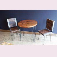 美式乡村家具铁艺实木餐桌咖啡桌简约实木桌子复古做旧圆桌可定做