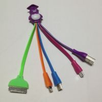 四合一企鹅卡通头充电线 充电发光线 I4/I5/安卓充电线 厂家直销