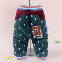 品牌韩版冬季新款童裤字母熊条绒拼色童棉裤 童休闲加厚长裤2416