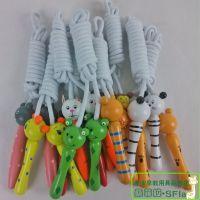 幼儿园儿童健身运动用具 木制木质卡通可爱跳绳 动物棉绳跳绳
