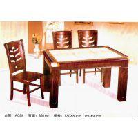 【【厂家直销】】实木6拼格大理石餐厅桌子/餐桌