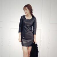韩国代购 2014秋冬新款韩版气质后背绑带修身连衣裙 一件代发