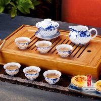 景德镇青花水晶玲珑镂空陶瓷功夫茶壶三才盖碗整套装高档礼品茶具