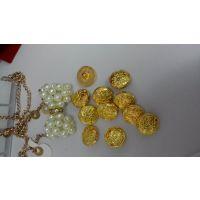 新款现模金色小花塑料电镀纽扣,DIY西装纽扣爆款