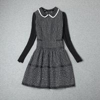 欧洲站高端秋冬季新款女装拼接撞色娃娃领针织长袖格子连衣裙1066