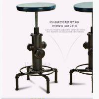 美式复古水管铁艺咖啡桌椅套件法式做旧茶几吧台桌椅三件套圆桌