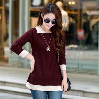 供应2014初秋新品羊绒衫 纯色中长款宽松套头毛衣女毛线 翻领打底衫