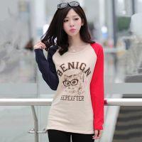 2014秋装新款女装 日系原单贴布长袖打底衫 时尚字母T恤女