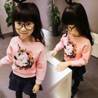 韩果儿童装批发D秋装印花太空棉套头打底衫 韩版粉色圆女童外套