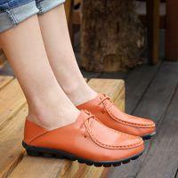 中老年女鞋豆豆鞋系带平跟女单鞋圆头真皮低帮鞋平底休闲鞋女
