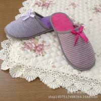 时尚定制 女士条纹室内家居拖鞋 时尚爆款 【图】