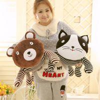 正品韩版条纹猫熊公仔毛绒玩具 趴趴熊猫 抱抱熊抱枕 厂家直销