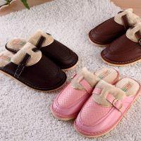 甜美可爱糖果色搭扣保暖皮质棉拖鞋 居家舒适情侣保暖拖鞋 J13421