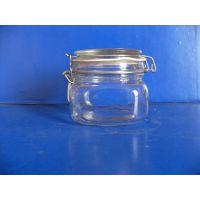 玻璃罐生产厂家生产定做钢卡方玻璃罐 圆密封罐 糖果罐 储物罐