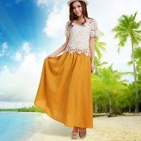 供应2014蕾丝打底衫拼波西米亚长裙套装 夏季女装雪纺连衣裙两件套