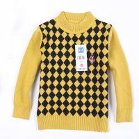 【nex*】外贸童针织衫批发 圆领胸前黄黑格小熊儿童针织衫